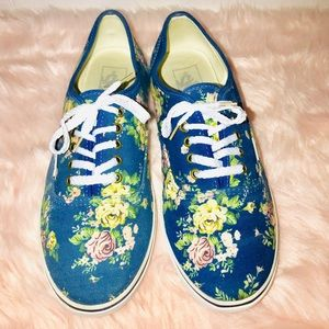 Vans Shoes - Vans blue and floral sneakers